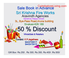 coimbatore -Crackers Available in 50% Discounts Sale Book in Advance