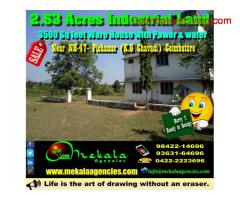 coimbatore - 2.63 Acres Industrial land with 3500 Sq feet Ware house,Power and Water Sale at Pichanur (KG Chavadi