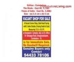 coimbatore -Shop for Sale