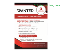 coimbatore -Wanted : Sales Manager / Receptionist