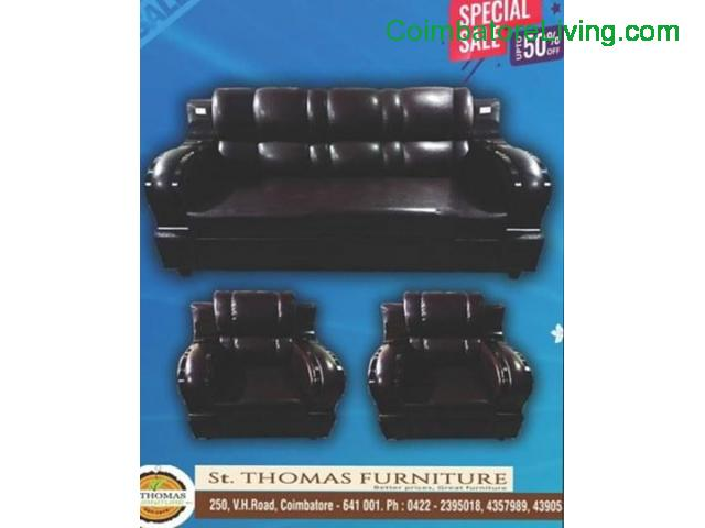 coimbatore - solid Artificial Leather Sofa - 1/1