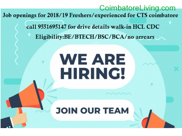 coimbatore - Job Openings For 2018/19 pass out for CTS coimbatore - 1/3