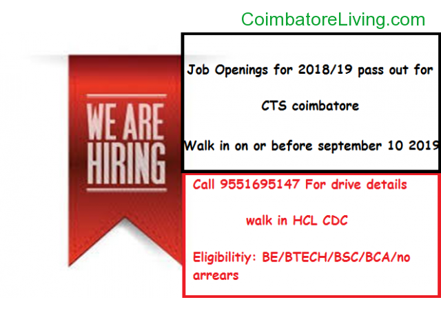 coimbatore - Job Openings For 2018/19 pass out for CTS coimbatore - 2/3