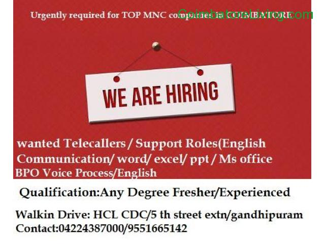 coimbatore - candidates required for Top MNC in coimbatore - 1/1