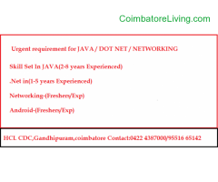 coimbatore -urgent requirement for JAVA/.NET/Networking